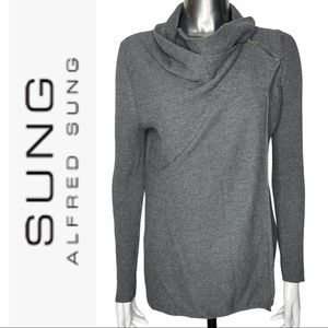 Alfred Sung Grey Wrap Long Sleeve Sweater Small